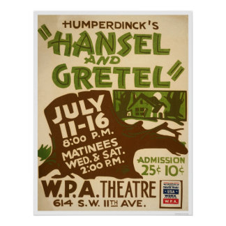 Hansel & Gretel Play 1937 WPA Poster