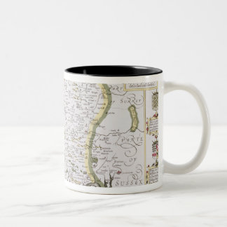 Hantshire, engraved by Jodocus Hondius Two-Tone Coffee Mug