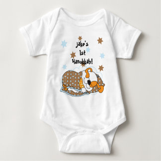 Hanukkah Baby Body Suit/dog/Brown Orange Baby Bodysuit