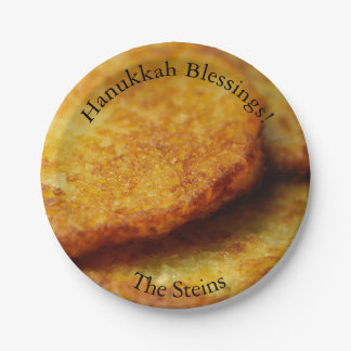 Hanukkah blessings potato pancakes paper plates
