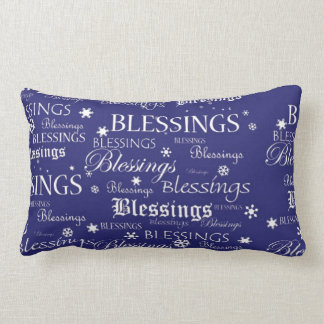 Hanukkah Blessings Snowflakes on Blue Pillow