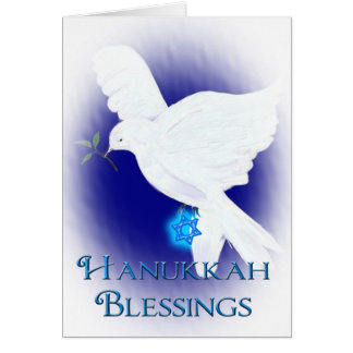 Hanukkah Blessings-White Dove with Star of David Greeting Card