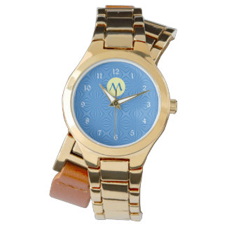 Hanukkah Blue Squiggly Squares, Yellow and Initial Watch
