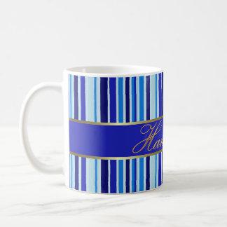 Hanukkah Blue Stripes Mug