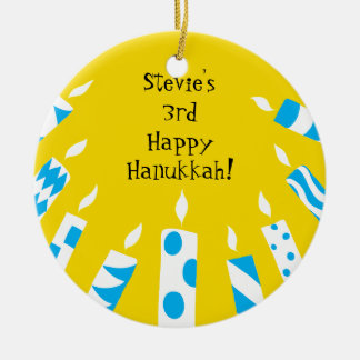 Hanukkah Blue/Yellow Candles Ornament