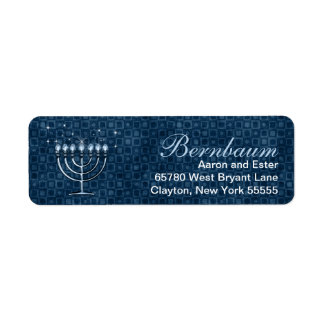 Hanukkah Bright | Blue Menorah Custom Return Address Label