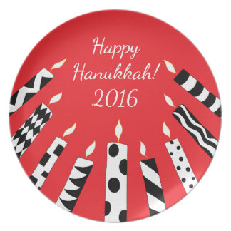 "Hanukkah Candles Plate Personalize 10"" Round"
