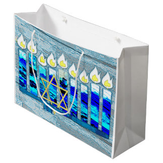 Hanukkah Candles with Gold Star of David Large Gift Bag