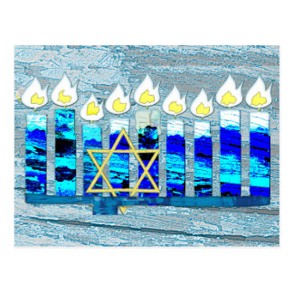 Hanukkah Candles with Gold Star of David Postcard
