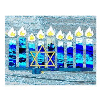 Hanukkah Candles with Gold Star of David Postcard