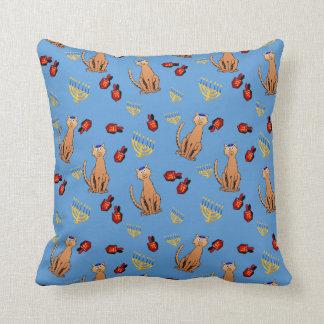 Hanukkah Cat Dreidel Blue Cushion