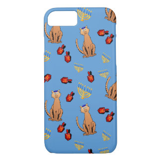 Hanukkah Cat Dreidel Blue Holiday Case