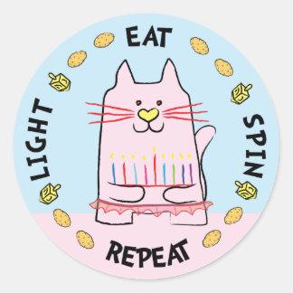 "Hanukkah CAT Stickers ""Light, Eat, Spin, Repeat"""