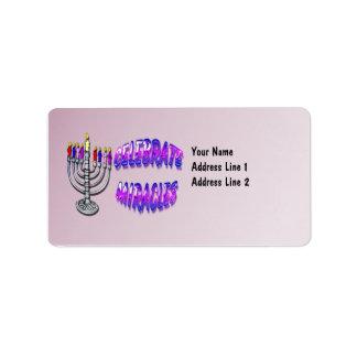 Hanukkah - Celebrate Miracles, Menorah Address Lab Address Label