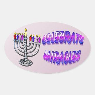 Hanukkah - Celebrate Miracles, Menorah Oval Sticke Oval Sticker