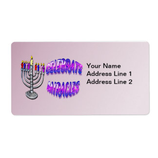 Hanukkah - Celebrate Miracles, Menorah Shupping La Shipping Label