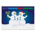 Hanukkah Christmas Snowmen Card