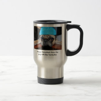 Hanukkah coffe cup with pug on it with Yarmulke