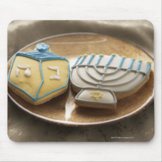 Hanukkah cookies on plate, elevated view mouse mat