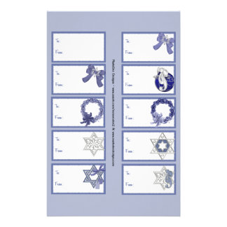 Hanukkah Designs 3 Gift Tags on a Page - 10 Design