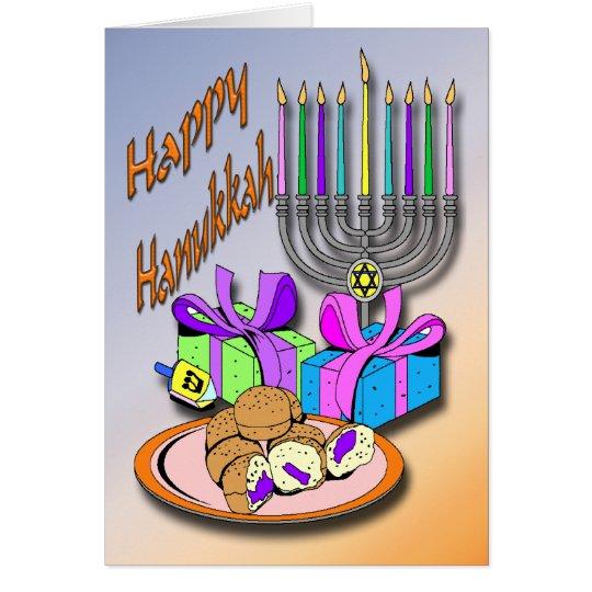 Hanukkah - Doughnuts, Menorah, Dreidel Card