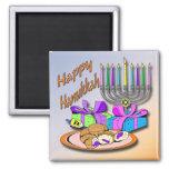 Hanukkah - Doughnuts, Menorah, Dreidel Magnet