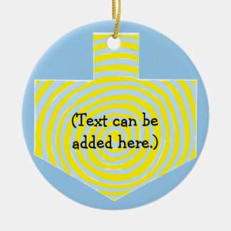 Hanukkah Dreidel/Blue/Yellow Circle Ornament