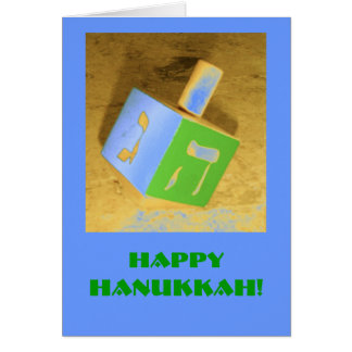 Hanukkah Dreidel Card-Blue Greeting Card