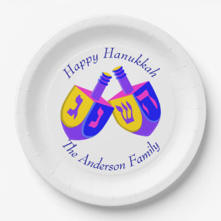 Hanukkah Dreidels Colorful Cheerful Kids Party Paper Plate