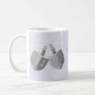 Hanukkah Dreidels Faux Silver Holiday Gift Idea Coffee Mug