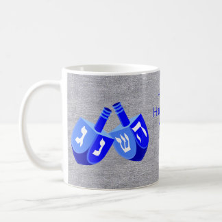 Hanukkah Dreidels In Blue Kids Add Your Name Fun Coffee Mug