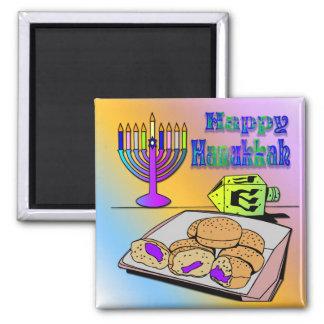 Hanukkah - Food, Dreidel, Menorah Magnet