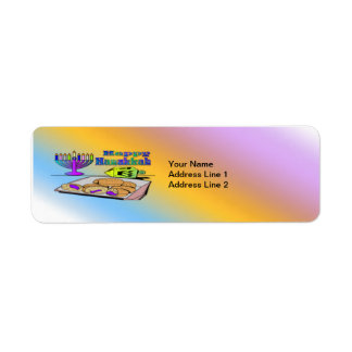 Hanukkah - Food, Dreidel, Menorah Return Address L Return Address Label