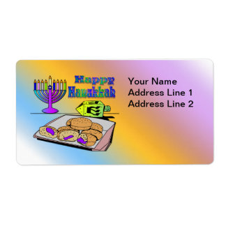Hanukkah - Food, Dreidel, Menorah Shipping  Label Shipping Label