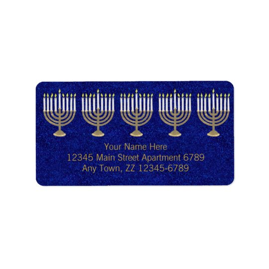 Hanukkah Gold Menorah On Blue Elegant Holiday Address Label