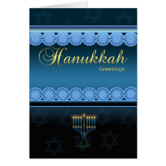 Hanukkah Greetings - Blue Stylish - Hanukkah Card