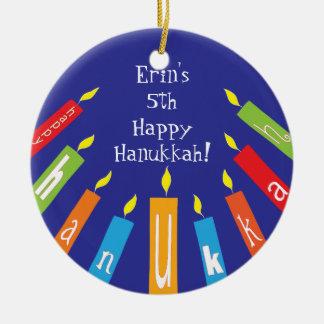 Hanukkah Happy Colorful Candles Ornament
