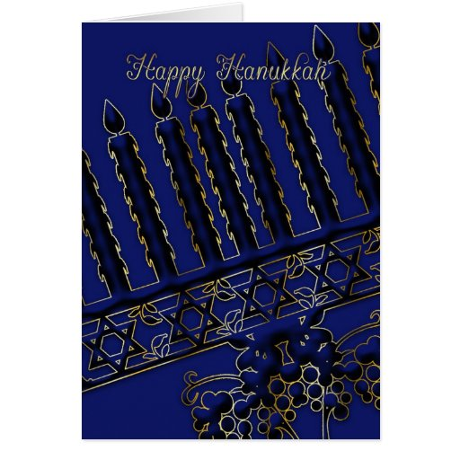 hanukkah holiday card with candles in blue