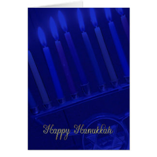 hanukkah holiday card with candles in blue and gol