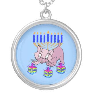 Hanukkah Kitty Round Pendant Necklace