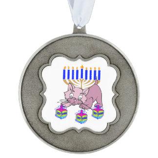 Hanukkah Kitty Scalloped Ornament