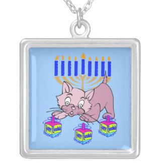 Hanukkah Kitty Square Pendant Necklace