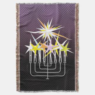 HANUKKAH LIGHTS MENORAH on black and purple Throw Blanket