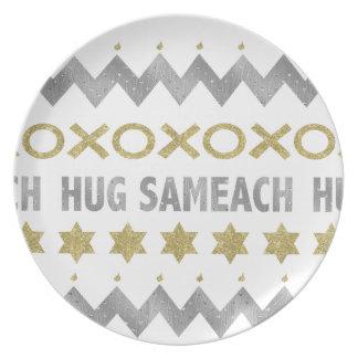 """Hanukkah Melamine/""""Hug Sameach"""" Elegant Plate 10"""""""