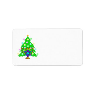 Hanukkah Menorah and Christmas Tree Address Label