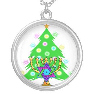 Hanukkah Menorah and Christmas Tree Round Pendant Necklace