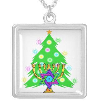 Hanukkah Menorah and Christmas Tree Square Pendant Necklace
