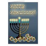 Hanukkah Menorah and Dreidels Greeting Cards
