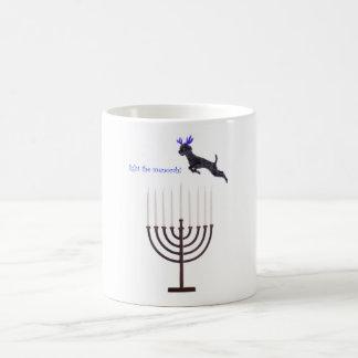 Hanukkah Menorah Black Poodle Dog Reindeer Basic White Mug