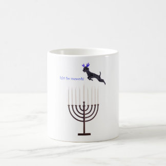 Hanukkah Menorah Black Poodle Dog Reindeer Coffee Mug